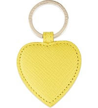 Smythson Panama Leather Heart Keyring Yellow