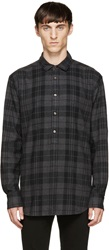 Blk Dnm Grey Check Flannel Shirt