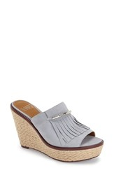 Women's Franco Sarto 'Candace' Wedge Mule Dusty Blue Suede