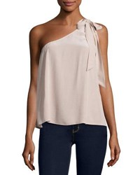Joie Romana One Shoulder Silk Blouse Dusty Mink