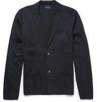 Lanvin Slim Fit Wool And Cotton Blend Cardigan Navy
