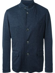 Herno Button Up Collar Single Breasted Blazer Blue