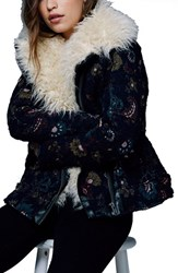Free People Women's Jacquard Jacket With Faux Shearling Trim