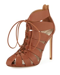 Francesco Russo Lace Up Leather Gladiator Bootie