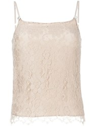 Christopher Kane Floral Lace Cami Top Nude And Neutrals