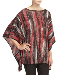 Misook Thora Striped 3 4 Sleeve Tunic Red Multi
