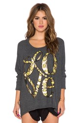 Lauren Moshi Mira Large Happy Love Oversized Sweatshirt Charcoal