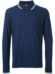 Kent And Curwen Striped Collar Polo Shirt Blue