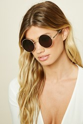 Forever 21 Geo Etched Sunglasses Gold Brown
