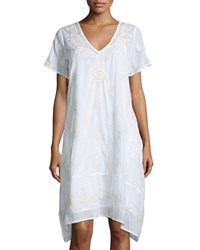 Saffire Wembley Embroidered Short Sleeve Dress White Ecru