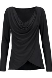 Tart Collections Haven Draped Wrap Effect Stretch Modal Top Black