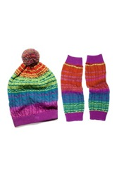 Muk Luks Ombre Cable Slouch Beanie And Armwarmers Set