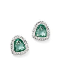 Judith Ripka Sterling Silver Margot Stud Earrings With Paraiba Spinel Green Silver