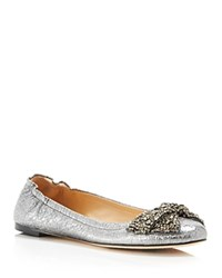Tory Burch Bonneville Jeweled Bow Ballet Flats Pewter