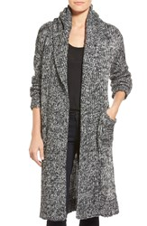 Coin 1804 Cozy Chunky Long Hooded Cardigan Black White