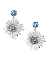 Oscar De La Renta Silvertone Pave Sunburst Drop Earrings