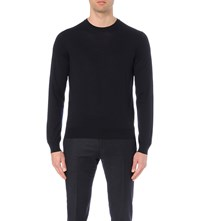 Corneliani Crewneck Virgin Wool Jumper Grey Blue