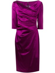 Talbot Runhof 'Colly' Ruched Dress Pink And Purple