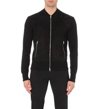 Tom Ford Zip Through Wool And Suede Cardigan Black