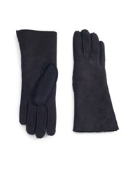 Saks Fifth Avenue Suede Shearling Lined Gloves Black
