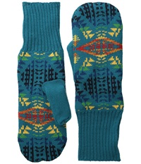 Pendleton Fleece Lined Mittens Diamond River Turquoise Wool Gloves Blue