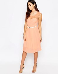 Jasmine Midi Dress With Lace Top Pink