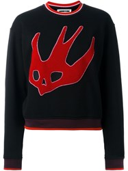 Mcq By Alexander Mcqueen Cropped Swallow Embroidery Sweatshirt Black