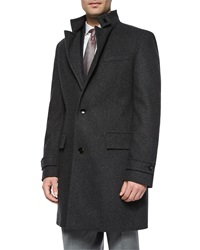 Hugo Boss Stand Collar Wool Overcoat Charcoal