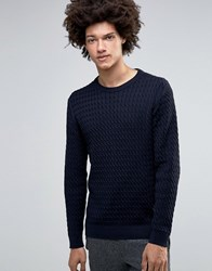 Minimum Jovan Cable Knit Jumper Dark Navy Mel