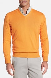 Men's Robert Talbott Classic Fit V Neck Sweater Tangerine