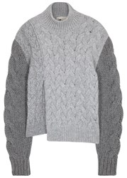 Stella Mccartney Chunky Stitch Cable Knit Wool Blend Jumper Grey