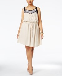 Love Squared Plus Size Embroidered Racerback Fit And Flare Dress Stone