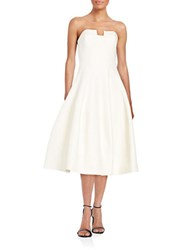 Halston Strapless Fit And Flare Dress Bone