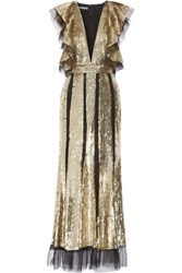 Alexander Mcqueen Ruffled Sequin Embellished Tulle Gown Gold