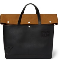 Atelier De L'armee Leather And Cotton Canvas Bag Black