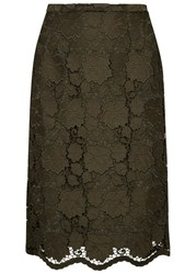 No.21 Army Green Guipure Lace Pencil Skirt Khaki