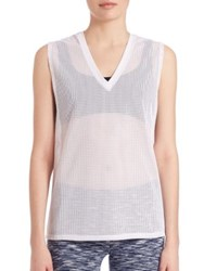 Lanston Sport Oversized V Neck Muscle Tee White