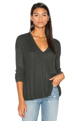 Line Heather V Neck Sweater Dark Green