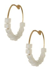 14Th And Union Small Square Beaded Hoop Earrings Metallic