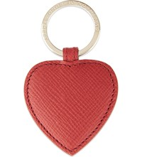 Smythson Panama Leather Heart Keyring Red