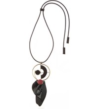 Marni Geometric Leather Necklace Black
