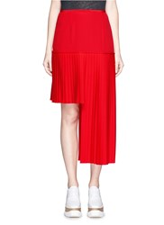 Stella Mccartney Asymmetric Pleated High Low Wool Skirt Red