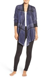 Dkny Women's Open Cardigan And Lounge Leggings Peacoat Plaid