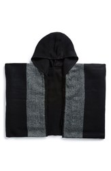 Men's Topman 'Aaa Collection' Stripe Hooded Cape Black Black Multi