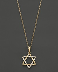 Bloomingdale's Diamond Star Of David Pendant In 14K Yellow Gold .10 Ct. T.W 18 White Diamonds Yellow Gold