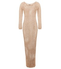 Balmain Cotton Crochet Knit Maxi Dress Beige