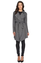 1.State Herringbone Trench Coat Rich Black