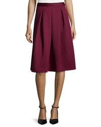 Chelsea And Theodore Inverted Pleat Skirt Wine Stain