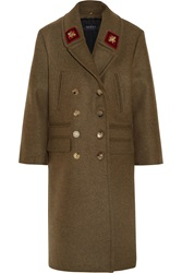 Gucci Double Breasted Appliqued Wool Coat