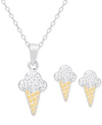 Victoria Townsend Lily Nily Women's Cubic Zirconia Ice Cream Cone Jewelry Set In 18K Gold Over Sterling Silver